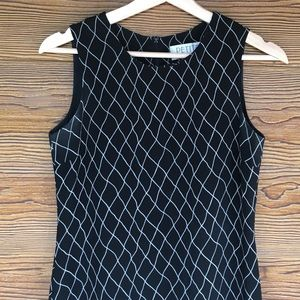 Vintage Black White Shift Dress Diamond Pattern 2